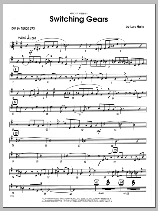 Lars Halle Switching Gears - 2nd Bb Tenor Saxophone sheet music preview music notes and score for Jazz Ensemble including 3 page(s)