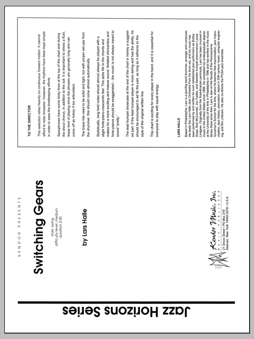 Lars Halle Switching Gears - Full Score sheet music preview music notes and score for Jazz Ensemble including 20 page(s)