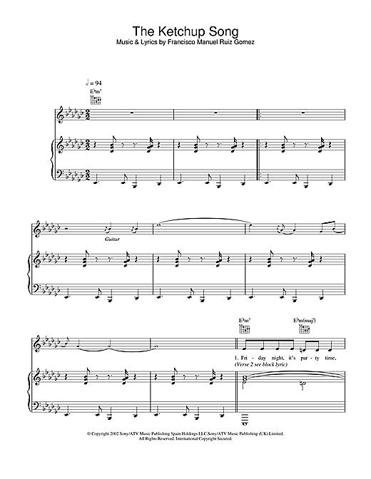 Las Ketchup The Ketchup Song sheet music notes and chords