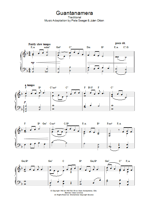 Latin-American Folksong Guantanamera sheet music preview music notes and score for Piano including 3 page(s)