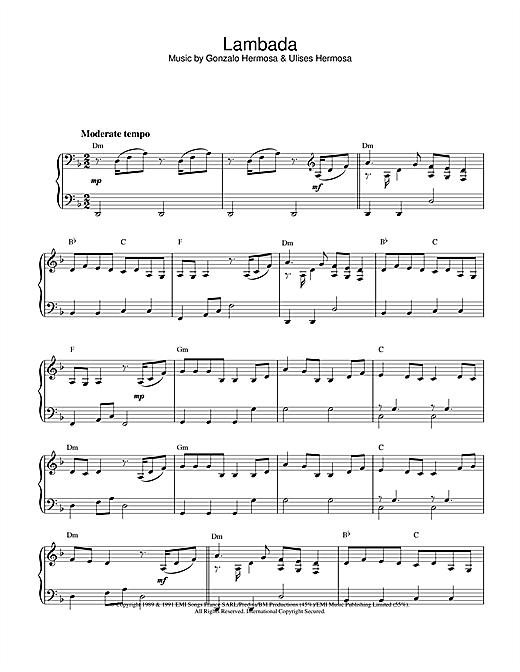 Download Latin-American Standard 'Lambada' Digital Sheet Music Notes & Chords and start playing in minutes
