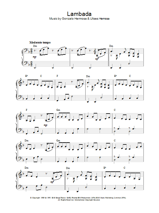 Latin-American Standard Lambada sheet music preview music notes and score for Piano including 3 page(s)