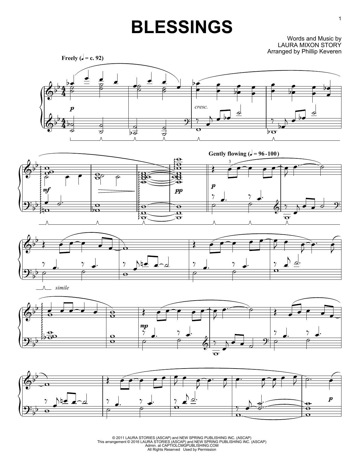 Download Phillip Keveren 'Blessings' Digital Sheet Music Notes & Chords and start playing in minutes