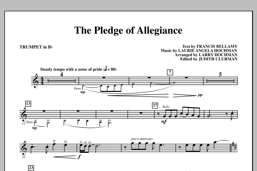 Laurie Angela Hochman The Pledge of Allegiance - Bb Trumpet sheet music notes and chords
