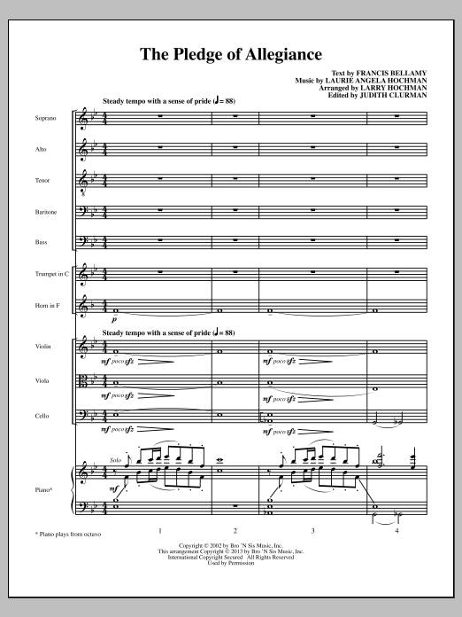 Laurie Angela Hochman The Pledge of Allegiance - Full Score sheet music notes and chords