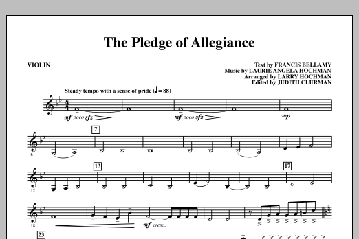 Laurie Angela Hochman The Pledge of Allegiance - Violin sheet music notes and chords