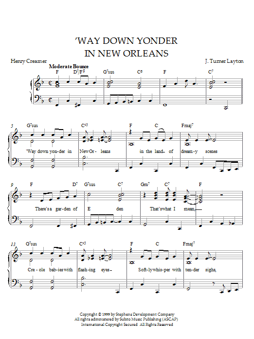 Louis Armstrong Way Down Yonder In New Orleans sheet music preview music notes and score for Piano including 2 page(s)