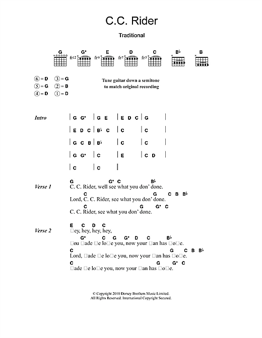 Leadbelly C.C. Rider sheet music notes and chords
