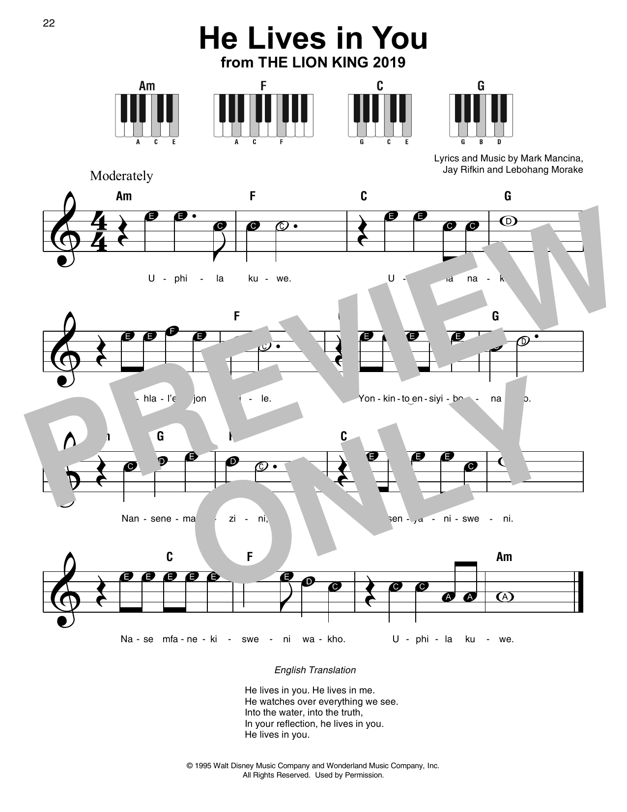 Lebo M He Lives In You (from The Lion King 2019) sheet music preview music notes and score for Super Easy Piano including 1 page(s)