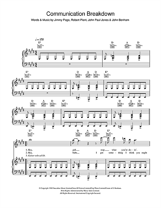 Download Led Zeppelin 'Communication Breakdown' Digital Sheet Music Notes & Chords and start playing in minutes