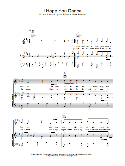 Lee Ann Womack I Hope You Dance sheet music preview music notes and score for Piano including 6 page(s)