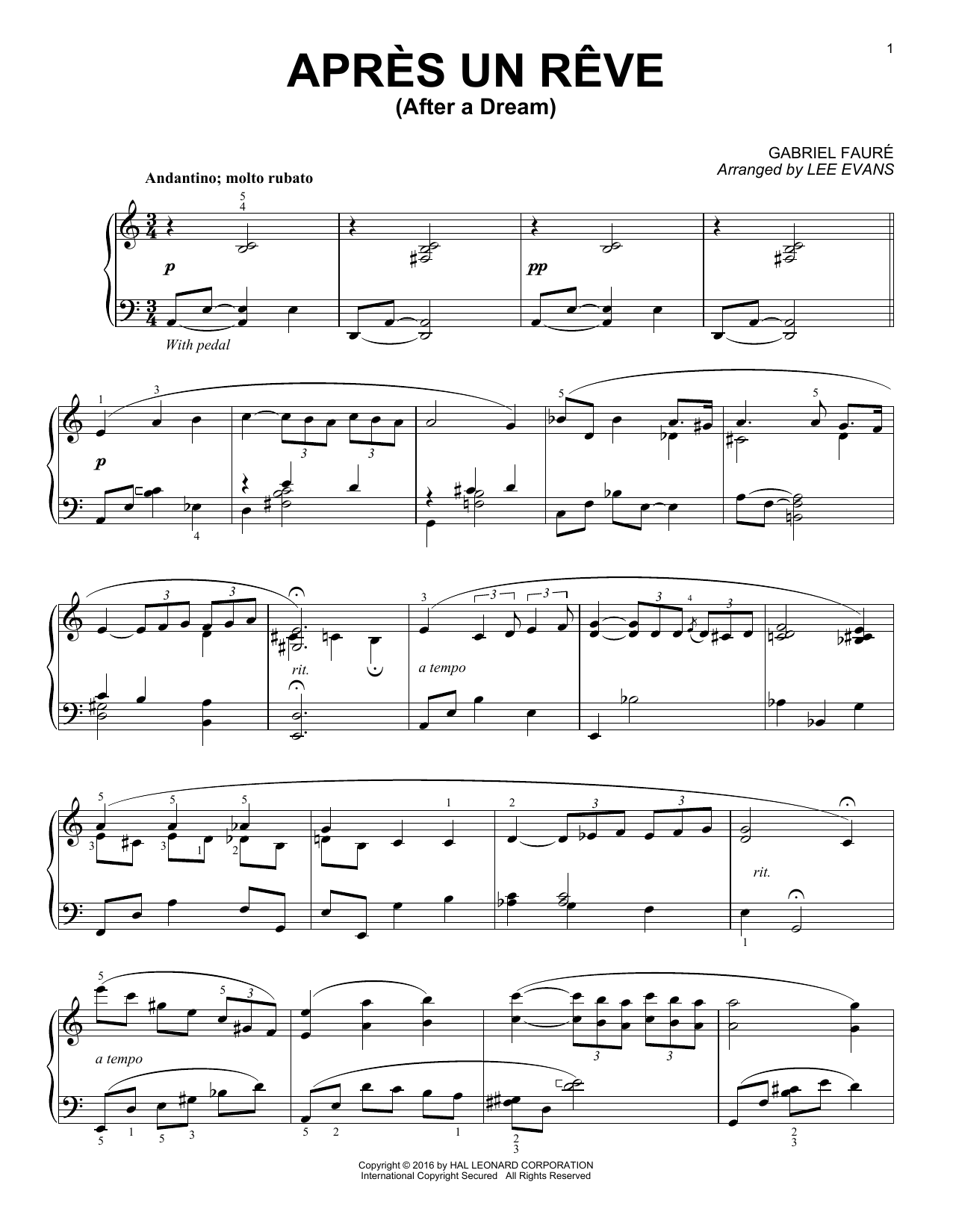 Download Lee Evans 'Apres un reve' Digital Sheet Music Notes & Chords and start playing in minutes
