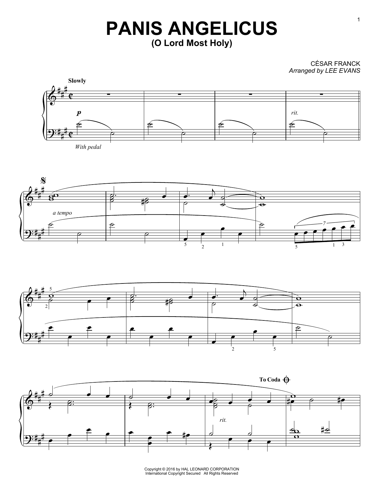 Download Lee Evans 'Panis Angelicus (O Lord Most Holy)' Digital Sheet Music Notes & Chords and start playing in minutes