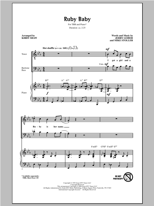 Download Leiber And Stoller 'Ruby Baby (arr. Kirby Shaw)' Digital Sheet Music Notes & Chords and start playing in minutes