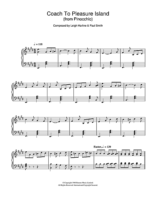 Download Leigh Harline 'Pinocchio (Coach To Pleasure Island)' Digital Sheet Music Notes & Chords and start playing in minutes