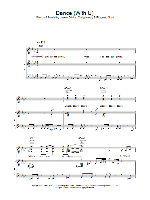 Lemar Dance (With U) sheet music preview music notes and score for Piano, Vocal & Guitar including 7 page(s)