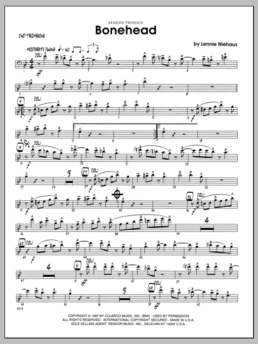 Lennie Niehaus Bonehead - 2nd Trombone sheet music preview music notes and score for Jazz Ensemble including 2 page(s)