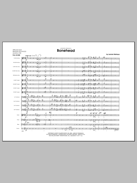 Lennie Niehaus Bonehead - Full Score sheet music preview music notes and score for Jazz Ensemble including 16 page(s)