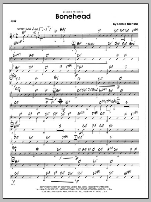 Lennie Niehaus Bonehead - Guitar sheet music preview music notes and score for Jazz Ensemble including 2 page(s)