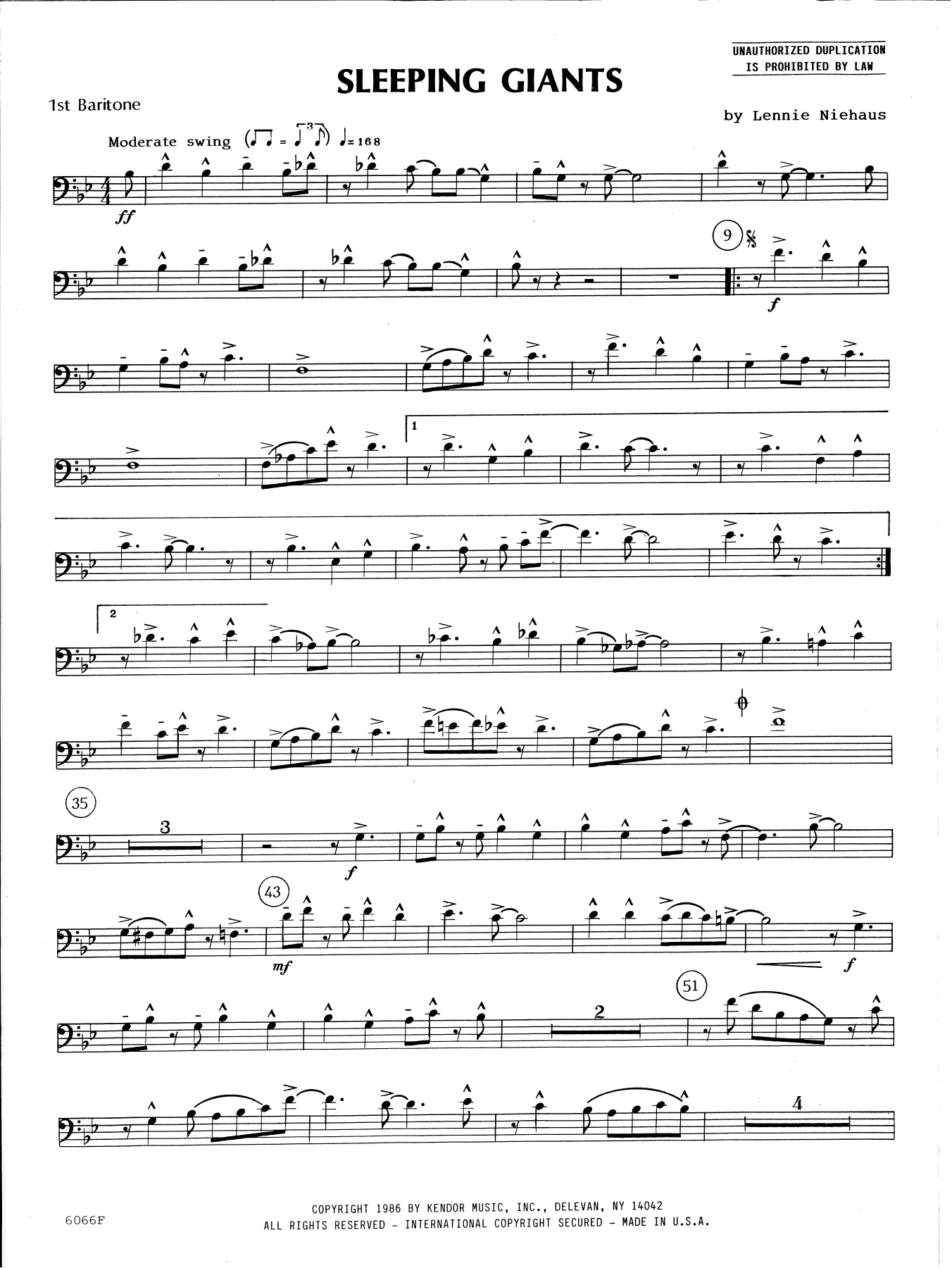 Lennie Niehaus Sleeping Giants - 1st Baritone B.C. sheet music preview music notes and score for Brass Ensemble including 2 page(s)