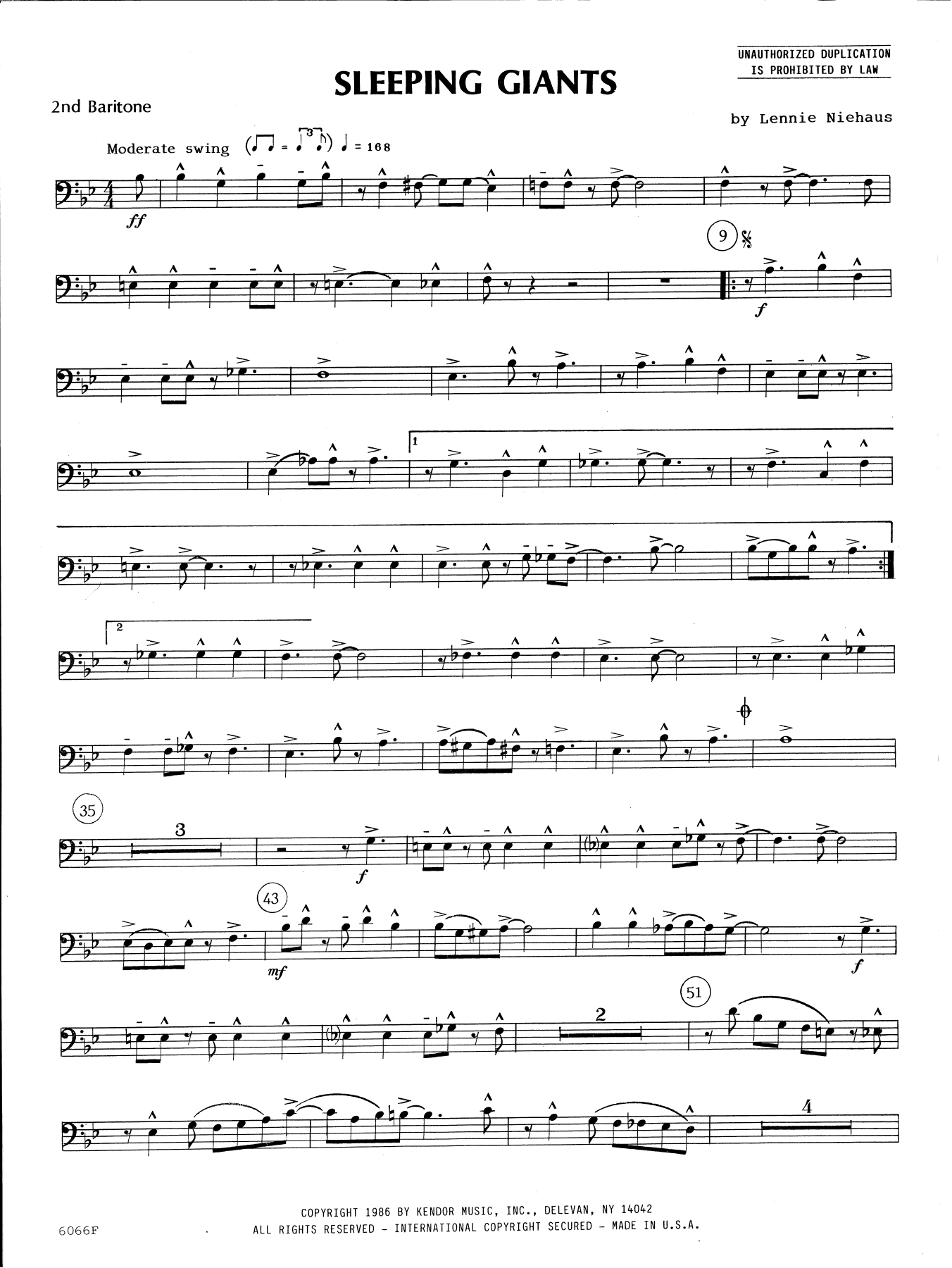 Lennie Niehaus Sleeping Giants - 2nd Baritone B.C. sheet music preview music notes and score for Brass Ensemble including 2 page(s)