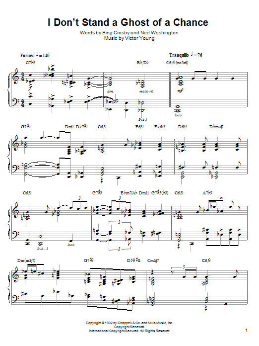 Download Lennie Tristano 'I Don't Stand A Ghost Of A Chance' Digital Sheet Music Notes & Chords and start playing in minutes
