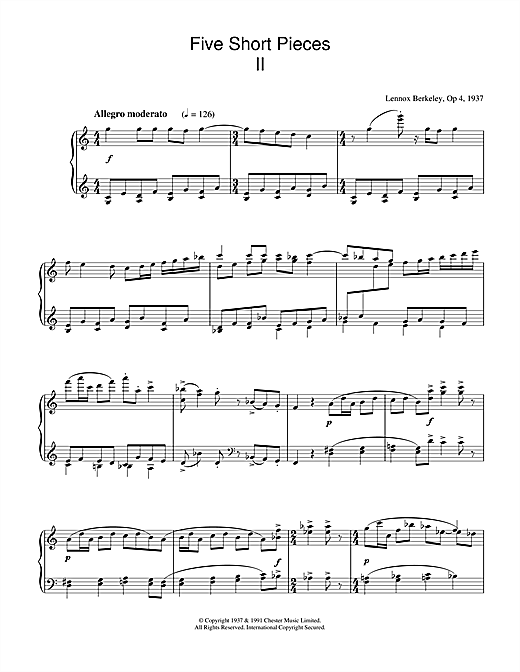 Download Lennox Berkeley 'Five Short Pieces, No.2, Op.4' Digital Sheet Music Notes & Chords and start playing in minutes