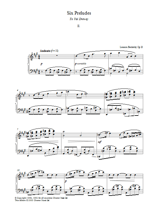 Lennox Berkeley Prelude No. 2 (from Six Preludes) sheet music preview music notes and score for Piano including 2 page(s)