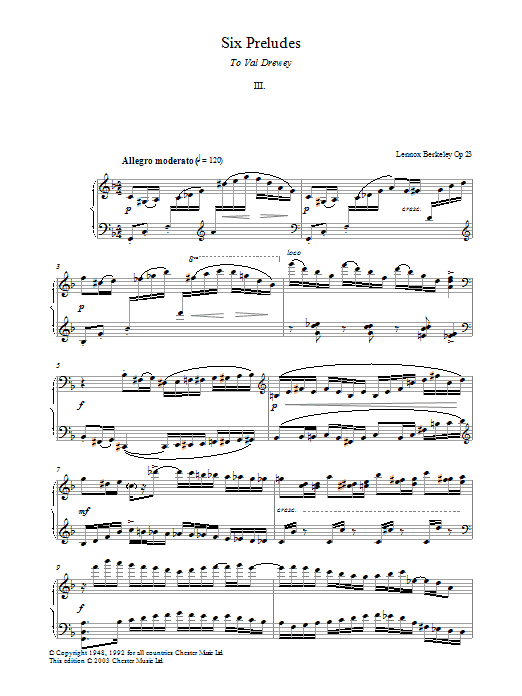 Lennox Berkeley Prelude No. 3 (from Six Preludes) sheet music preview music notes and score for Piano including 4 page(s)