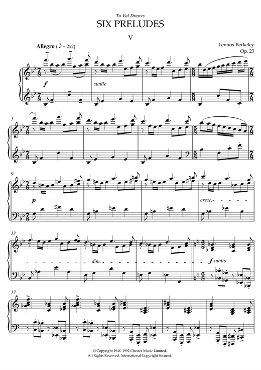 Download Lennox Berkeley 'Prelude No. 5 (from Six Preludes)' Digital Sheet Music Notes & Chords and start playing in minutes