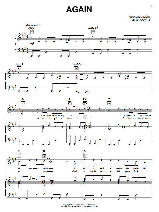 Lenny Kravitz Again sheet music notes and chords