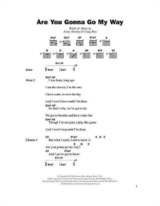 Lenny Kravitz Are You Gonna Go My Way sheet music preview music notes and score for Drums Transcription including 2 page(s)