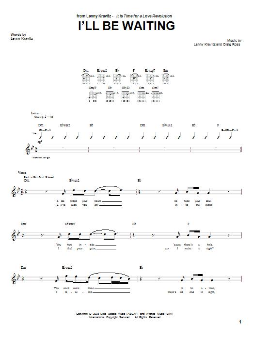 Lenny Kravitz I'll Be Waiting sheet music notes and chords
