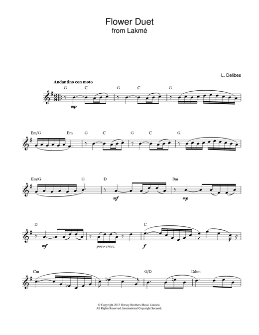 Download Leo Delibes 'Flower Duet (from Lakme)' Digital Sheet Music Notes & Chords and start playing in minutes