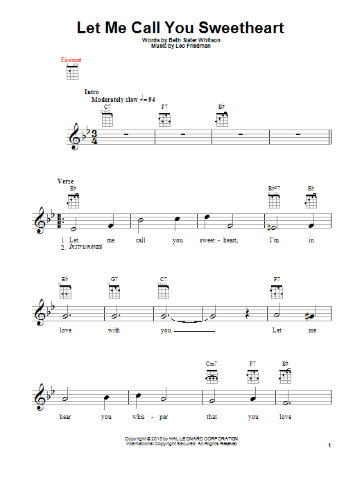 Download Leo Friedman 'Let Me Call You Sweetheart' Digital Sheet Music Notes & Chords and start playing in minutes