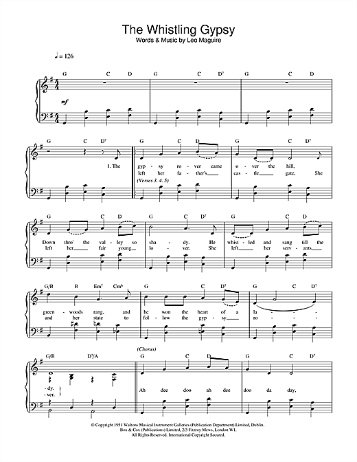 Leo Maguire Whistling Gypsy sheet music notes and chords