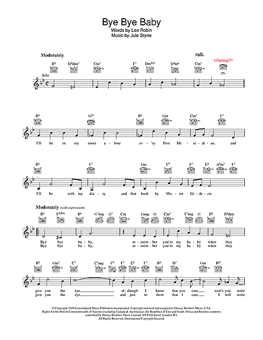 Leo Robin Bye Bye Baby sheet music preview music notes and score for Melody Line, Lyrics & Chords including 2 page(s)