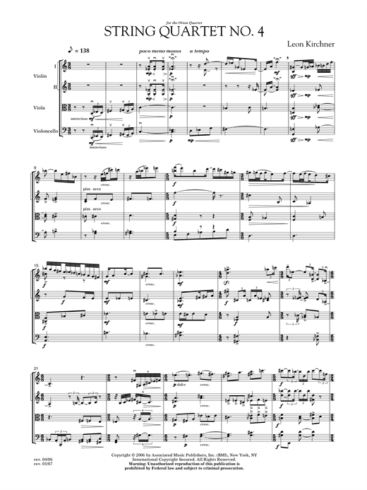 Download Leon Kirchner 'String Quartet No. 4' Digital Sheet Music Notes & Chords and start playing in minutes
