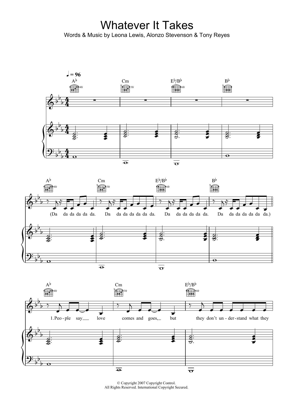 Leona Lewis Whatever It Takes sheet music preview music notes and score for Piano, Vocal & Guitar (Right-Hand Melody) including 7 page(s)