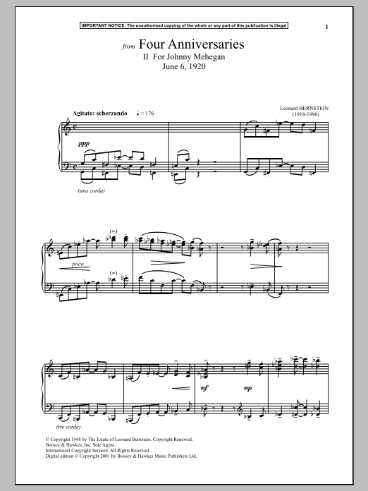 Download Leonard Bernstein 'Four Anniversaries, II. For Johnny Mehegan, June 6, 1920' Digital Sheet Music Notes & Chords and start playing in minutes