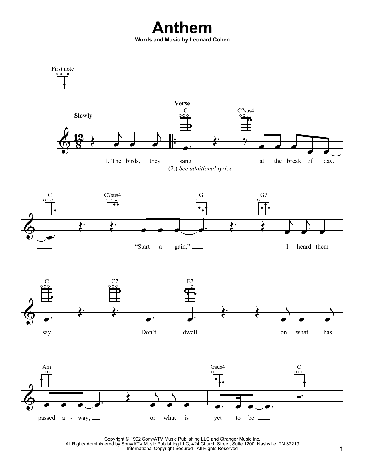 Leonard Cohen Anthem sheet music preview music notes and score for E-Z Play Today including 6 page(s)