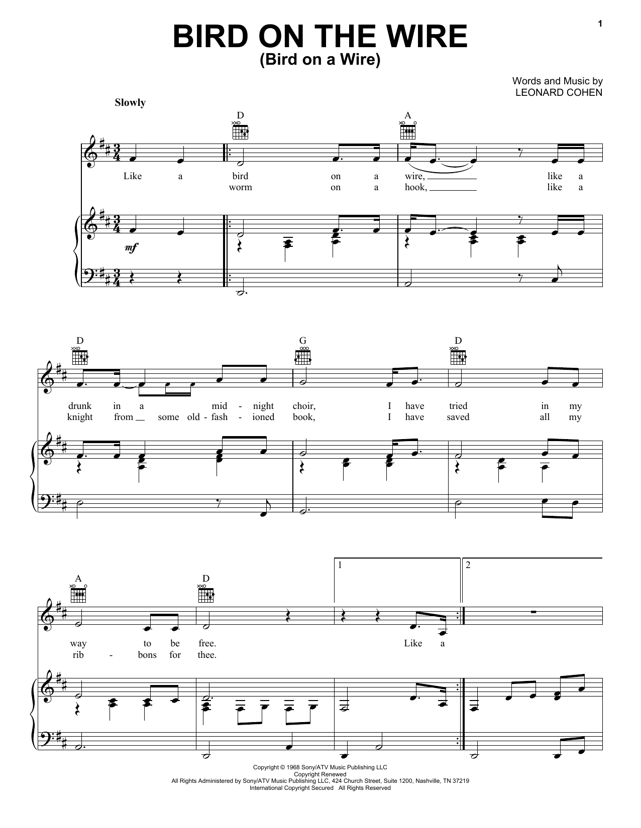 Leonard Cohen Bird On The Wire (Bird On A Wire) sheet music notes and chords