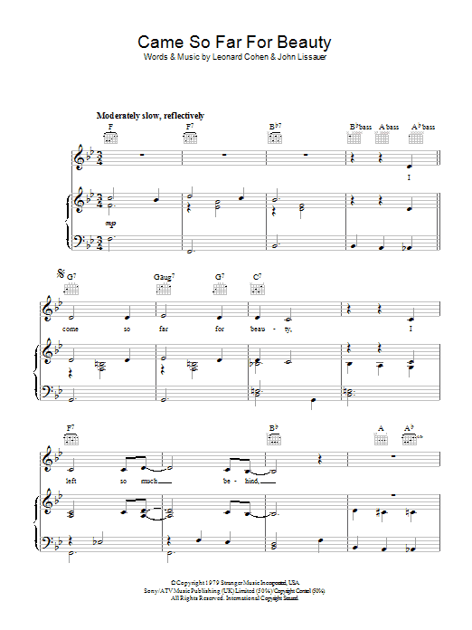 Leonard Cohen Came So Far For Beauty sheet music preview music notes and score for Piano, Vocal & Guitar (Right-Hand Melody) including 5 page(s)