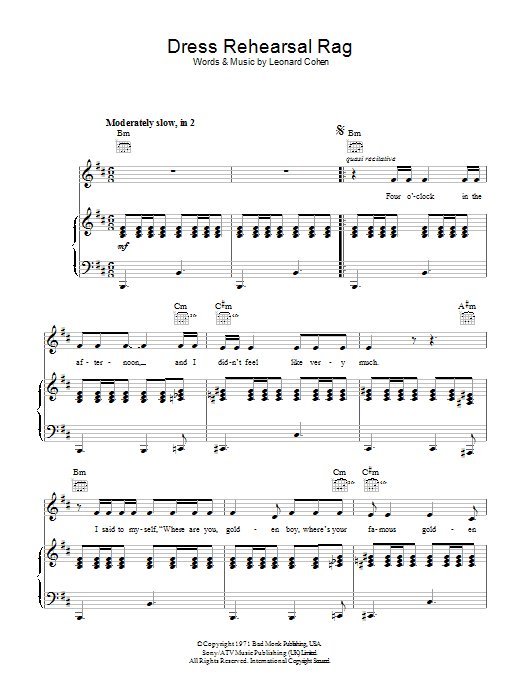 Leonard Cohen Dress Rehearsal Rag sheet music preview music notes and score for Piano, Vocal & Guitar (Right-Hand Melody) including 6 page(s)