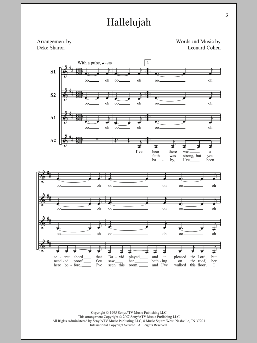 Deke Sharon Hallelujah sheet music preview music notes and score for SSA including 5 page(s)