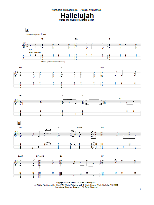 Jake Shimabukuro Hallelujah sheet music preview music notes and score for Ukulele including 7 page(s)