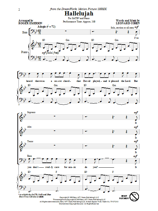 Rufus Wainwright Hallelujah (arr. Roger Emerson) sheet music preview music notes and score for SATB including 10 page(s)