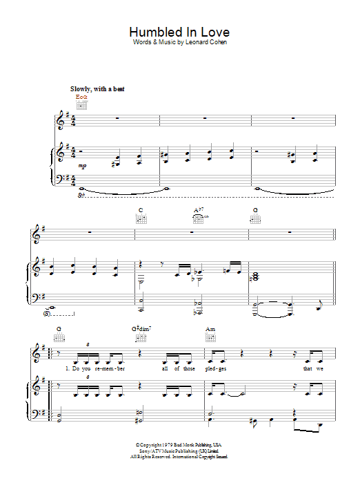 Leonard Cohen Humbled In Love sheet music preview music notes and score for Piano, Vocal & Guitar (Right-Hand Melody) including 4 page(s)