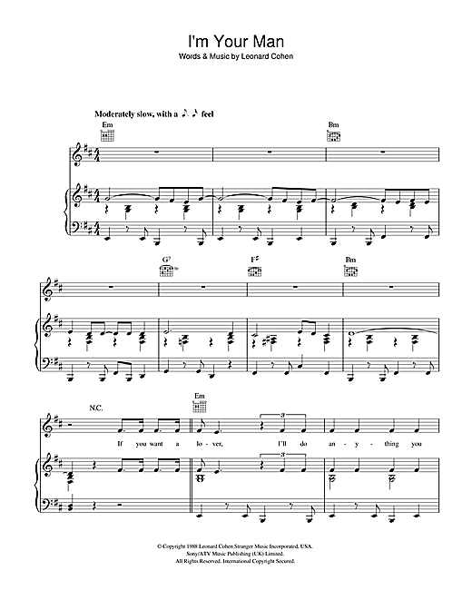 Leonard Cohen I'm Your Man sheet music preview music notes and score for E-Z Play Today including 5 page(s)