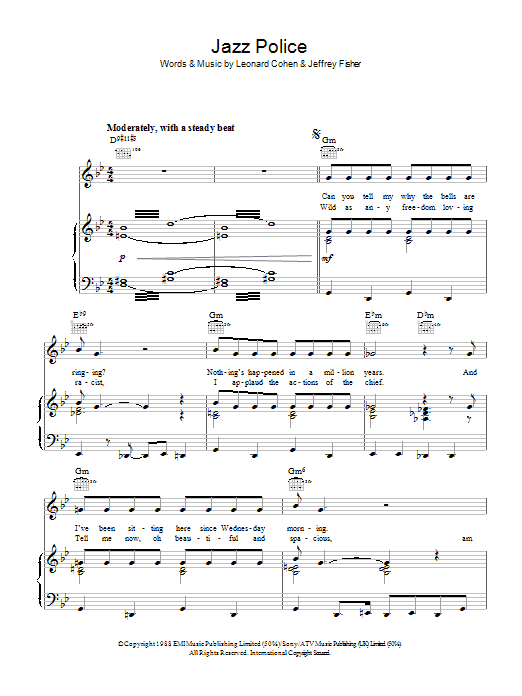 Leonard Cohen Jazz Police sheet music preview music notes and score for Piano, Vocal & Guitar (Right-Hand Melody) including 8 page(s)